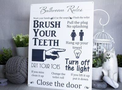Bathroom Rules Metal Sign