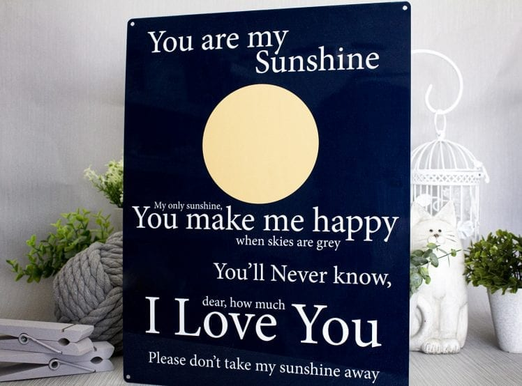 You are my sunshine metal sign
