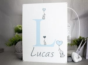 Metal customisable sign with baby's name
