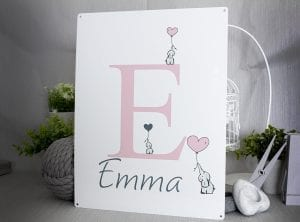 Customiseable baby Girls name metal sign