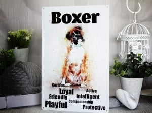 Metal sign with a water colour boxer dog painting