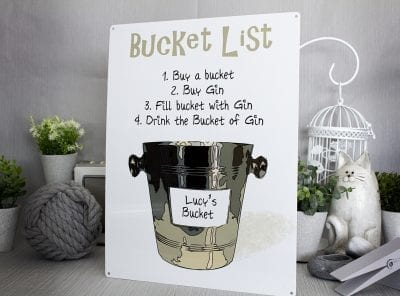 Customised Bucket list sign