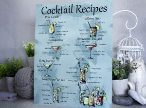 Cocktail Recipes Metal Sign