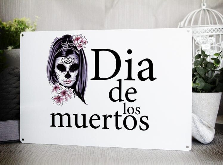 Dia de los muertos, day of the dead metal sign with pretty girl flower skull face