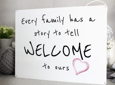 every family has a story to tell metal sign