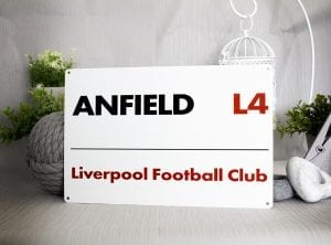 Anfield Road Sign Liverpool Football Club