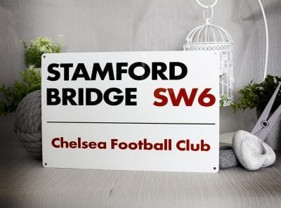 Stamford Bridge metal street sign for Chelsea football club
