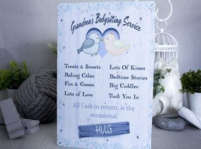grandmas babysitting service metal sign
