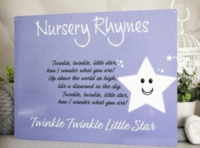 Twinkle Twinkle Little Star Nursery Rhyme Metal Sign