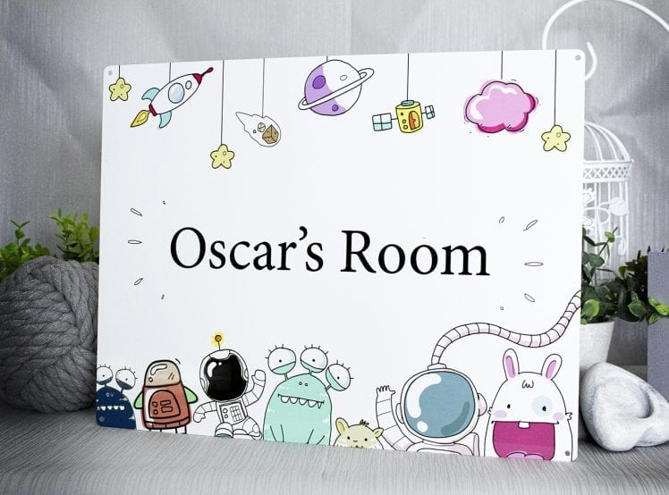 Space themed children's bedroom sign which can have the name customised