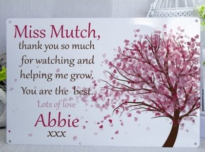 Personalised Hear Tree Metal Sign