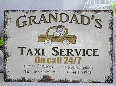 Grandad's Taxi Service Metal Sign