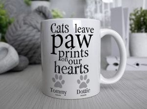 Customised Cats leave paw prints on our hearts white Mug with the dates of your cats passing