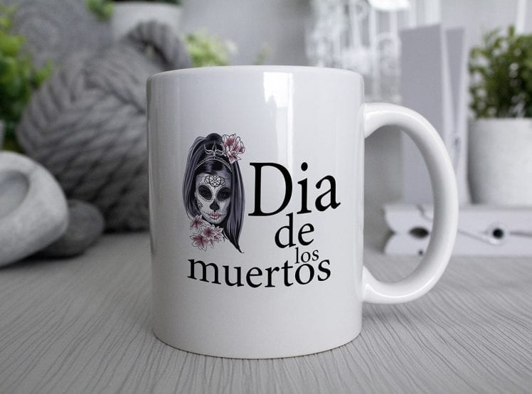Dia de los muertos Day of the dead mug with flower skull girl