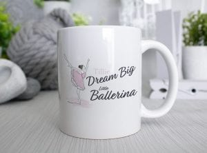 Dream Big Little ballerina metal sign with a paste pink watercolour of a ballerina that you can add a name to