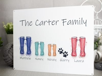 Metal family sign with water colour wellies and dog paw prints for each member of the family