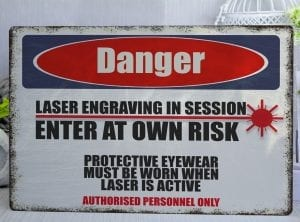 Danger Laser Engraving In Session Metal Sign
