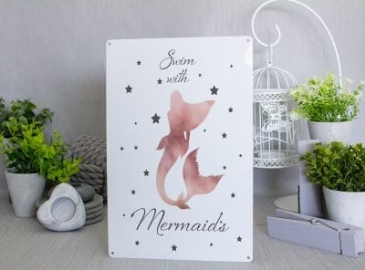 Swim With Mermaids Pink and Grey Metal Sign