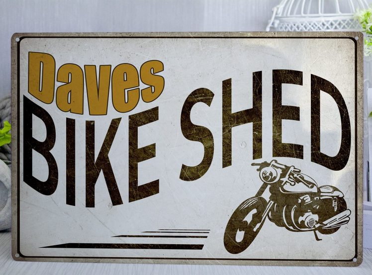 Retor styl personalised motorbike shed metal sign