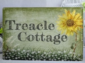 Customised Sunflower and Daisies Metal House Sign