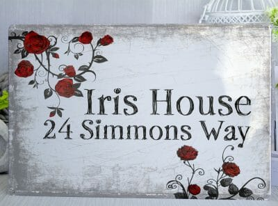 Customised Roses House Metal Sign