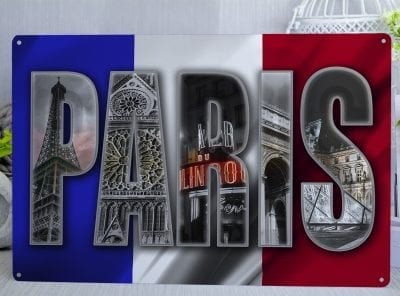 Paris French Flag Metal Sign