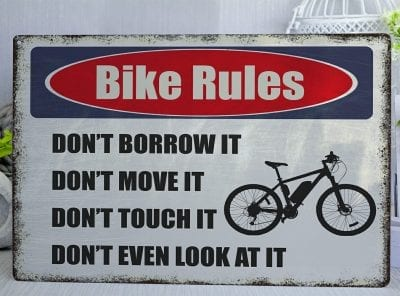 Bike Rules  Metal Sign