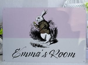Customised Alice in Wonderland Girls Room Metal Sign