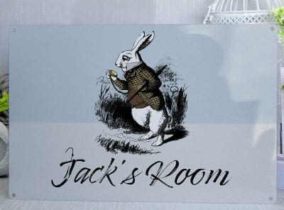 Customised Alice in Wonderland Boys Room Metal Sign