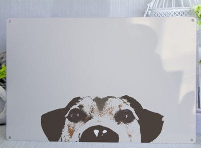 Pop Art Dog Peeping Metal Sign
