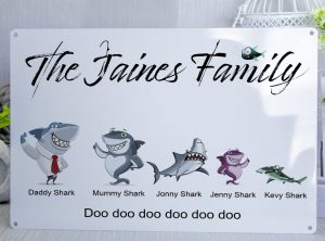 Customised Shark Family Metal Sign