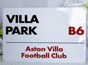 white black and red Aston Villa FC Villa Park Metal Street Sign