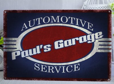 Personalised Vintage Style Automotive Garage blue, white and red Metal Sign