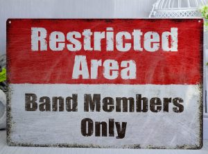 Red and White Distressed Restricted Are Band Members Only Metal Sign