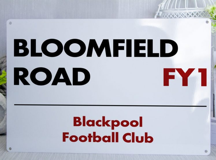 white black and red Blackpool FC Bloomfield Road Metal Street Sign
