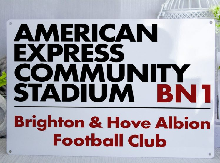 white black and red American Express Community Stadium BN1 Brighton and Hove Albion FC Metal Street Sign