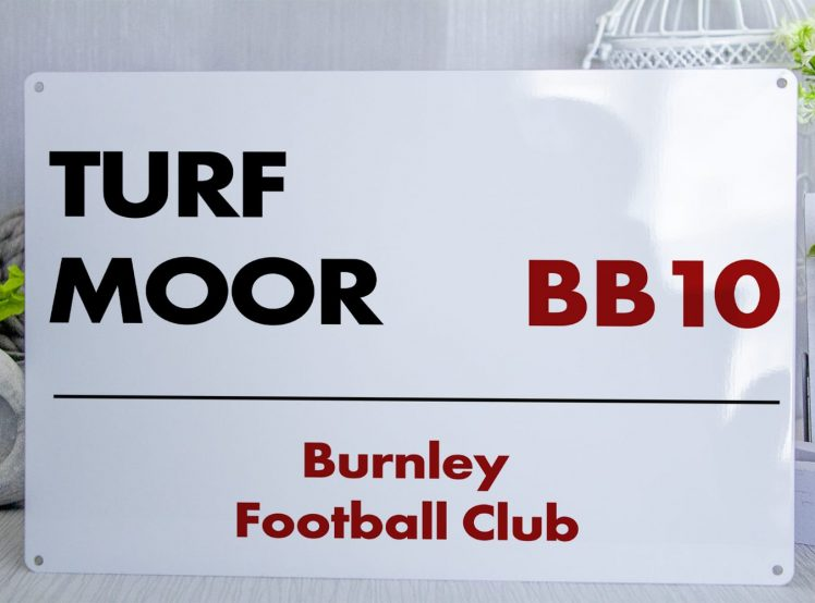 White black and red Burnley FC Turf Moor Metal Street Sign