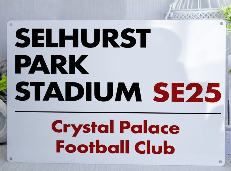 White Black and Red Crystal Palace FC Selhurst Park Stadium Metal Street Sign