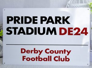 White black and red Derby County FC Pride Park Stadium Metal Street Sign