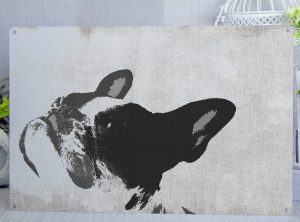 French Bulldog Posterised Metal Sign