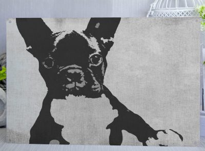 Grey posterised metal sign with a cute French Bulldog