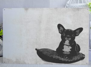French Bulldog on a cushion posterised metal sign