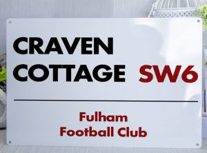 White black and red Fulham FC Craven Cottage Metal Street Sign
