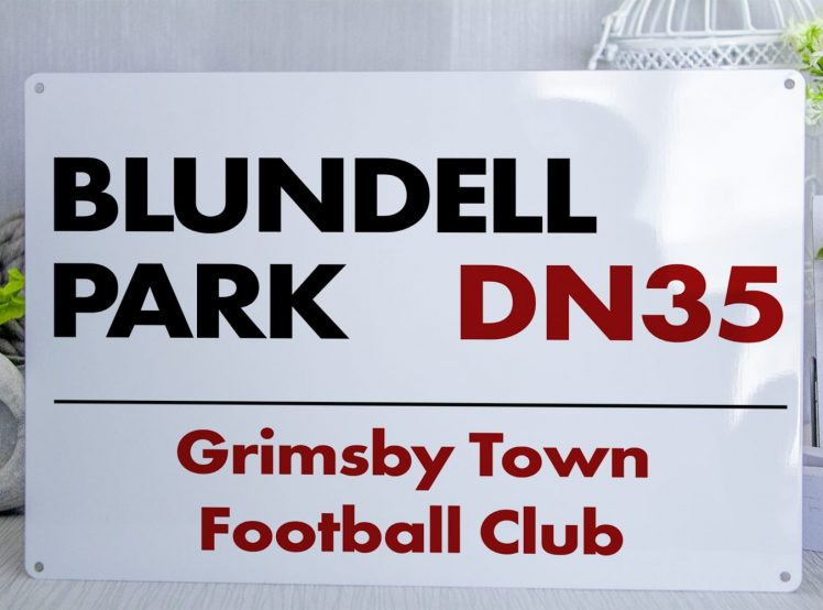 White black and red Grimsby Town FC Blundell Park Metal Street Sign