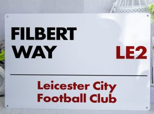 White red and black Leicester City FC Filbert Way Metal Street Sign