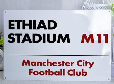 White black and red Manchester City FC Ethiad Stadium Metal Street Sign