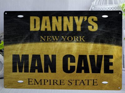 Black and yellow New York style Number Plate Personalised Man Cave Metal Sign