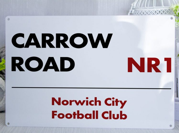 White Black and RedNorwich City FC Carrow Road Metal Street Sign