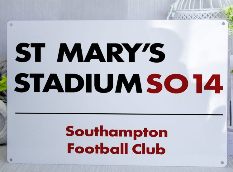 White black and red Southampton FC St Marys Stadium Metal Street Sign