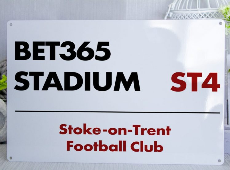 White red and black Stoke on Trent FC Bet365 Stadium Metal Street Sign